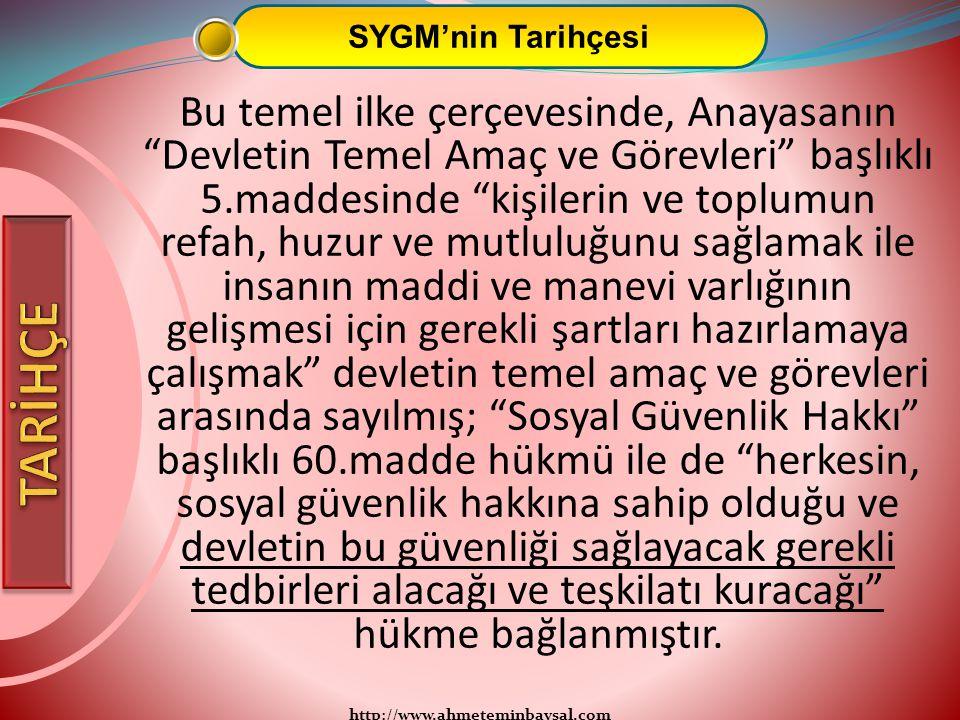 """http://www.ahmeteminbaysal.com SYGM'nin Tarihçesi Bu temel ilke çerçevesinde, Anayasanın """"Devletin Temel Amaç ve Görevleri"""" başlıklı 5.maddesinde """"kiş"""
