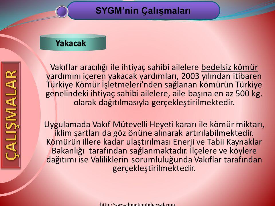 http://www.ahmeteminbaysal.com Vakıflar aracılığı ile ihtiyaç sahibi ailelere bedelsiz kömür yardımını içeren yakacak yardımları, 2003 yılından itibar