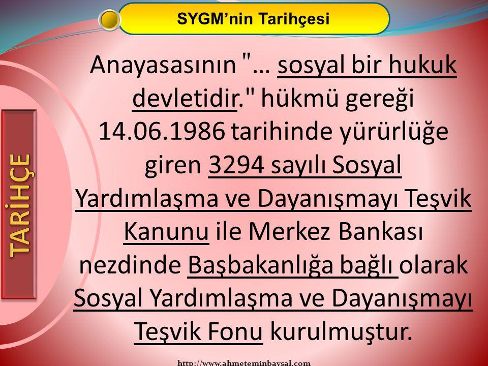 http://www.ahmeteminbaysal.com SYGM'nin Tarihçesi Anayasasının