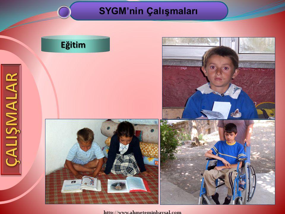 http://www.ahmeteminbaysal.com SYGM'nin Çalışmaları Eğitim
