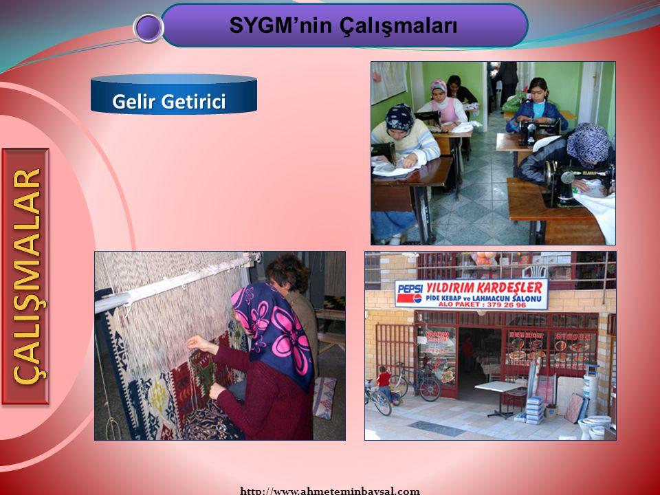 http://www.ahmeteminbaysal.com SYGM'nin Çalışmaları Gelir Getirici