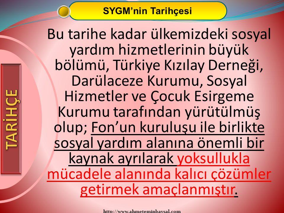 http://www.ahmeteminbaysal.com SYGM'nin Tarihçesi Bu tarihe kadar ülkemizdeki sosyal yardım hizmetlerinin büyük bölümü, Türkiye Kızılay Derneği, Darül