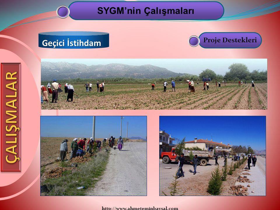 http://www.ahmeteminbaysal.com SYGM'nin Çalışmaları Geçici İstihdam Proje Destekleri