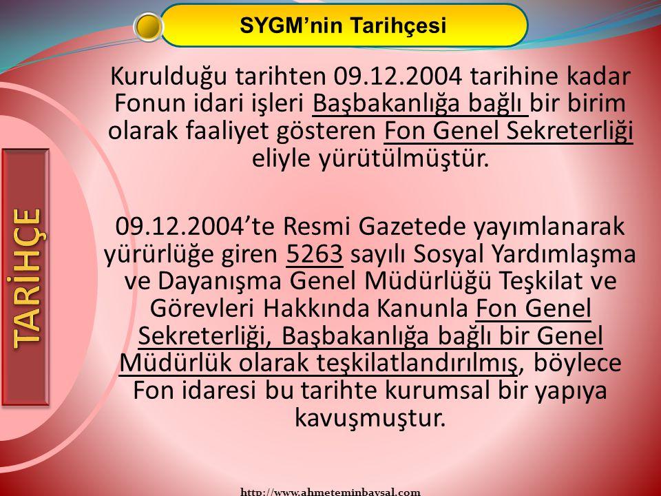 http://www.ahmeteminbaysal.com SYGM'nin Tarihçesi Kurulduğu tarihten 09.12.2004 tarihine kadar Fonun idari işleri Başbakanlığa bağlı bir birim olarak