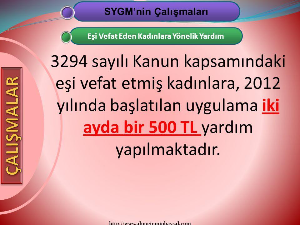 http://www.ahmeteminbaysal.com 3294 sayılı Kanun kapsamındaki eşi vefat etmiş kadınlara, 2012 yılında başlatılan uygulama iki ayda bir 500 TL yardım y
