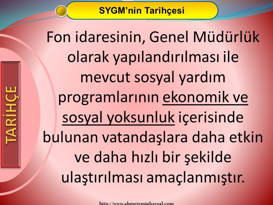 http://www.ahmeteminbaysal.com SYGM'nin Tarihçesi Fon idaresinin, Genel Müdürlük olarak yapılandırılması ile mevcut sosyal yardım programlarının ekono