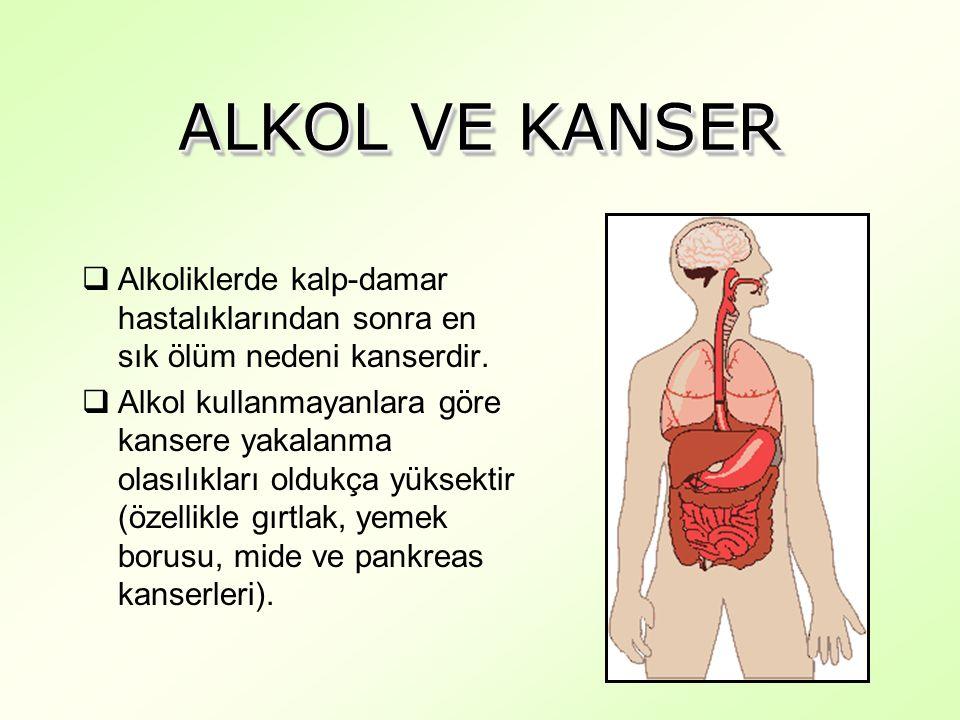 ALKOL VE KANSER  Alkoliklerde kalp-damar hastalıklarından sonra en sık ölüm nedeni kanserdir.