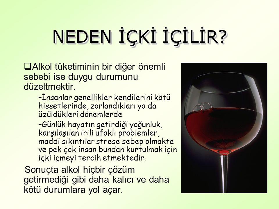 NEDEN İÇKİ İÇİLİR. Alkol tüketiminin bir diğer önemli sebebi ise duygu durumunu düzeltmektir.