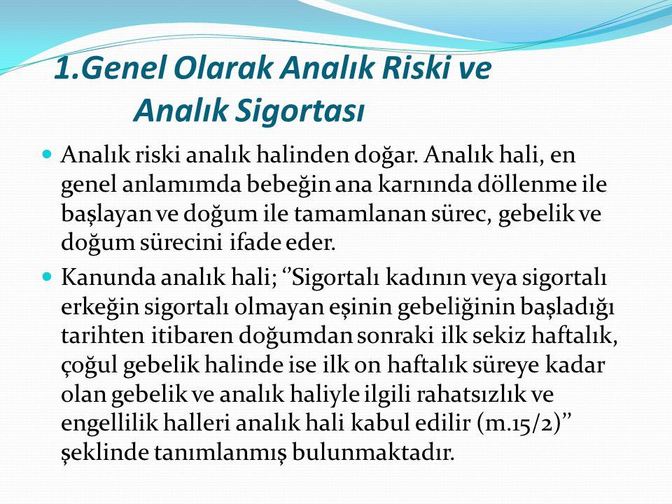 1.Genel Olarak Analık Riski ve Analık Sigortası Analık riski analık halinden doğar. Analık hali, en genel anlamımda bebeğin ana karnında döllenme ile