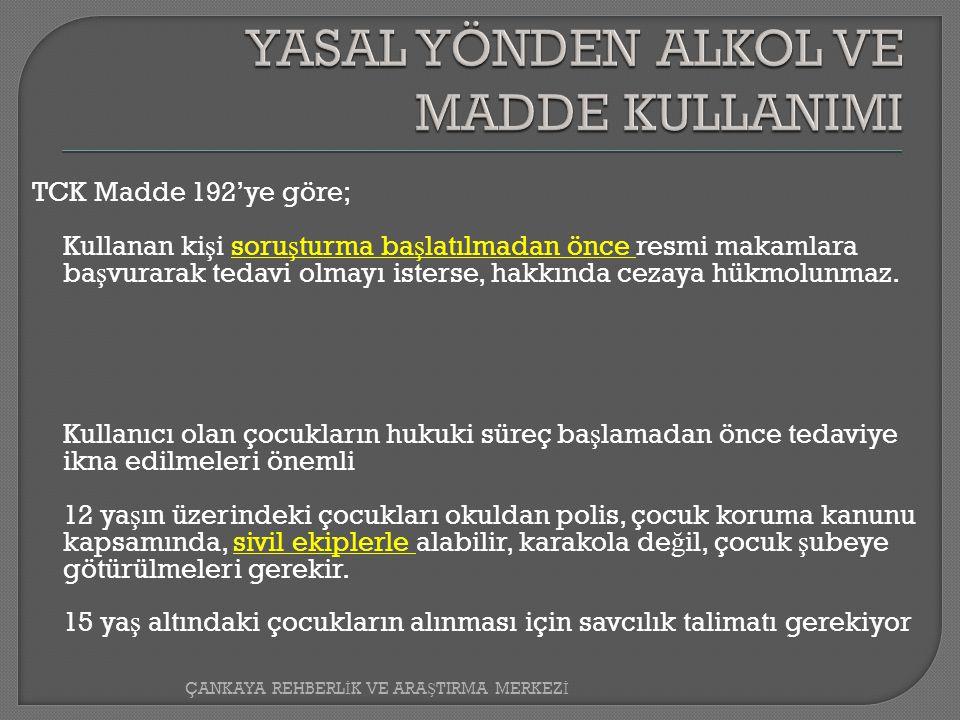 TCK Madde 192'ye göre; Kullanan ki ş i soru ş turma ba ş latılmadan önce resmi makamlara ba ş vurarak tedavi olmayı isterse, hakkında cezaya hükmolunmaz.