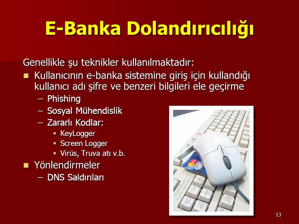 13 E-Banka Dolandırıcılığı Genellikle şu teknikler kullanılmaktadır: Kullanıcının e-banka sistemine giriş için kullandığı kullanıcı adı şifre ve benze
