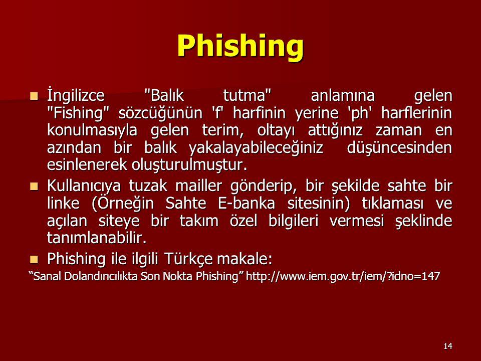 14 Phishing İngilizce