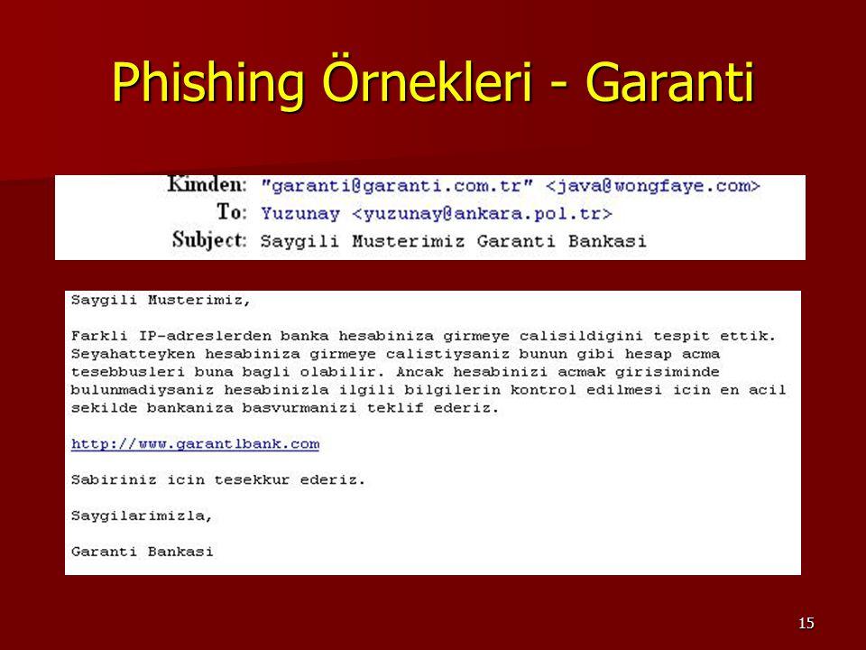 15 Phishing Örnekleri - Garanti