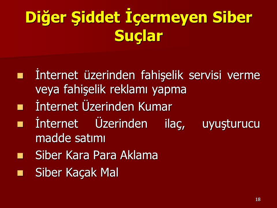 18 Diğer Şiddet İçermeyen Siber Suçlar İnternet üzerinden fahişelik servisi verme veya fahişelik reklamı yapma İnternet üzerinden fahişelik servisi ve