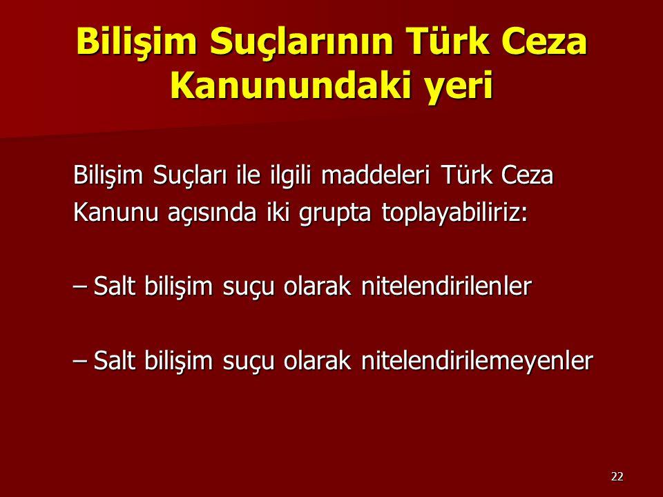 22 Bilişim Suçlarının Türk Ceza Kanunundaki yeri Bilişim Suçları ile ilgili maddeleri Türk Ceza Kanunu açısında iki grupta toplayabiliriz: –Salt biliş