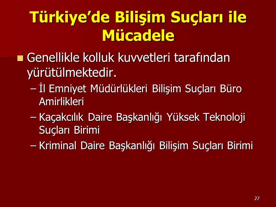 27 Türkiye'de Bilişim Suçları ile Mücadele Genellikle kolluk kuvvetleri tarafından yürütülmektedir. Genellikle kolluk kuvvetleri tarafından yürütülmek