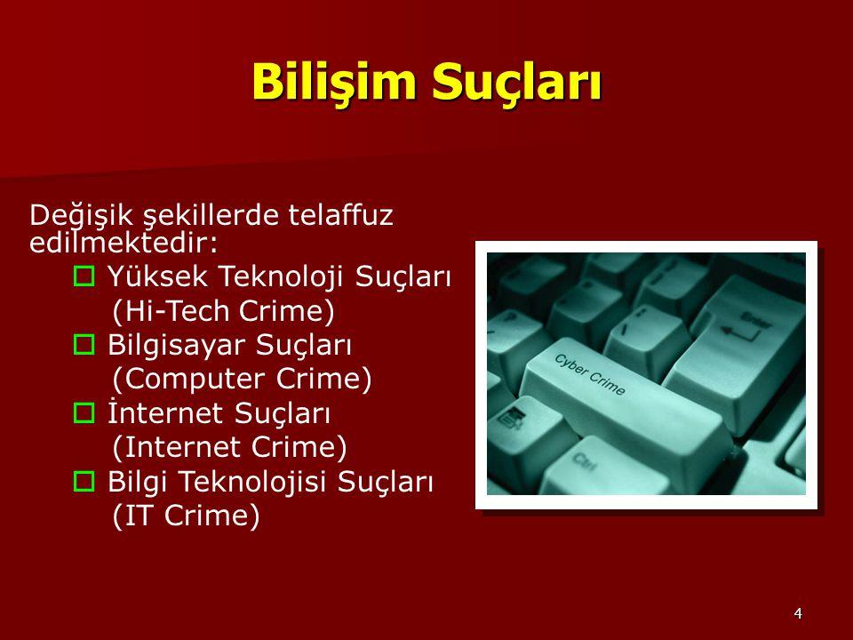 4 Bilişim Suçları Değişik şekillerde telaffuz edilmektedir:  Yüksek Teknoloji Suçları (Hi-Tech Crime)  Bilgisayar Suçları (Computer Crime)  İnterne