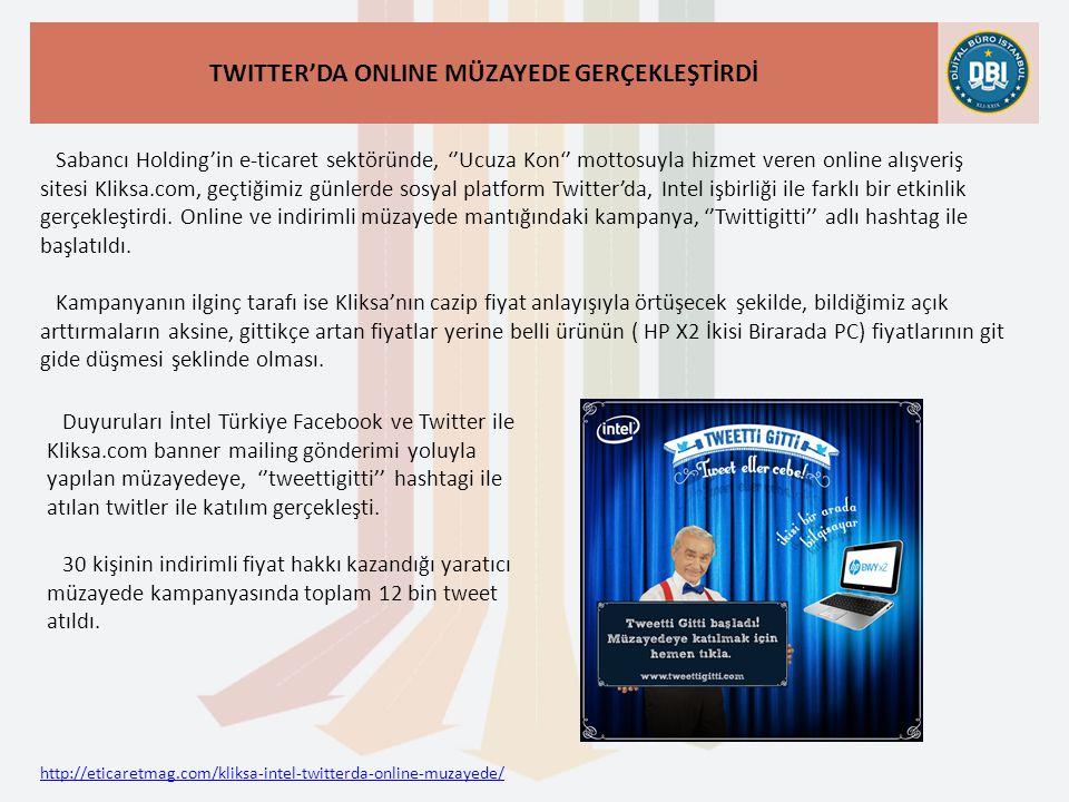 http://eticaretmag.com/kliksa-intel-twitterda-online-muzayede/ TWITTER'DA ONLINE MÜZAYEDE GERÇEKLEŞTİRDİ Sabancı Holding'in e-ticaret sektöründe, ''Ucuza Kon'' mottosuyla hizmet veren online alışveriş sitesi Kliksa.com, geçtiğimiz günlerde sosyal platform Twitter'da, Intel işbirliği ile farklı bir etkinlik gerçekleştirdi.