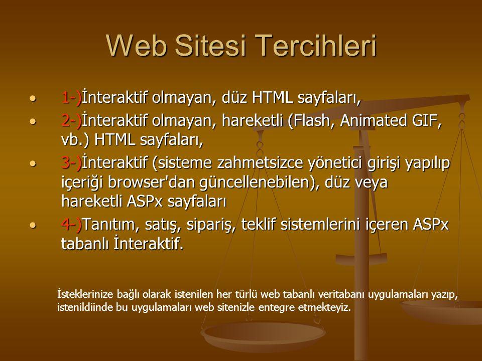 Web Sitesi Tercihleri  1-)İnteraktif olmayan, düz HTML sayfaları,  2-)İnteraktif olmayan, hareketli (Flash, Animated GIF, vb.) HTML sayfaları,  3-)İnteraktif (sisteme zahmetsizce yönetici girişi yapılıp içeriği browser dan güncellenebilen), düz veya hareketli ASPx sayfaları  4-)Tanıtım, satış, sipariş, teklif sistemlerini içeren ASPx tabanlı İnteraktif.