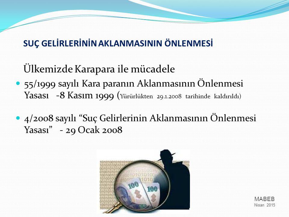 Ülkemizde Karapara ile mücadele 55/1999 sayılı Kara paranın Aklanmasının Önlenmesi Yasası -8 Kasım 1999 ( Yürürlükten 29.1.2008 tarihinde kaldırıldı)