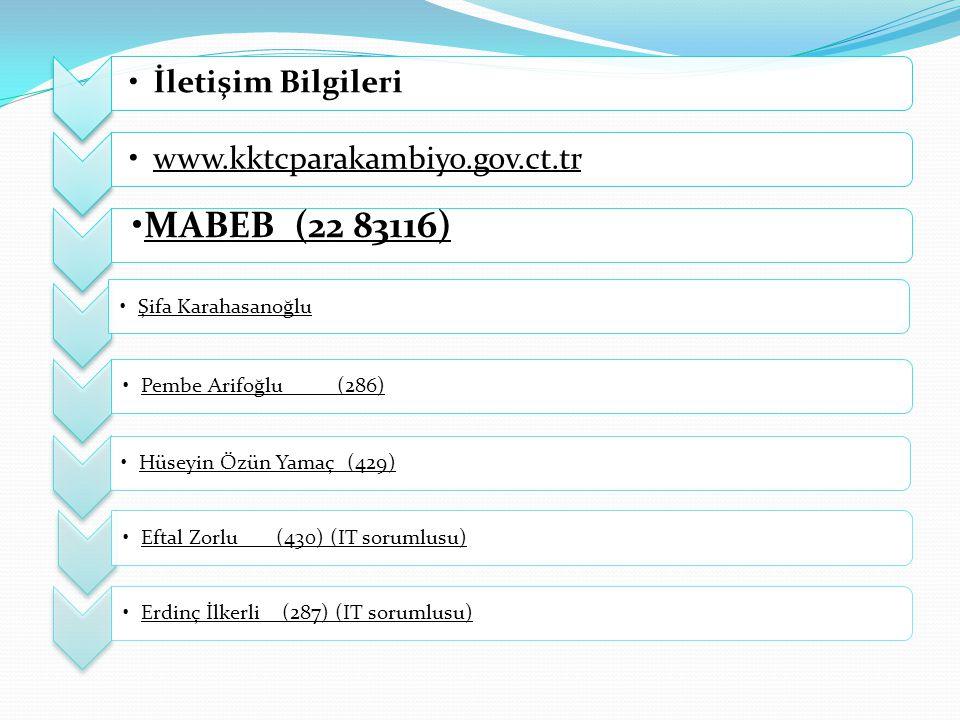 İletişim Bilgileriwww.kktcparakambiyo.gov.ct.tr MABEB (22 83116) Şifa KarahasanoğluPembe Arifoğlu (286)Hüseyin Özün Yamaç (429)Eftal Zorlu (430) (IT s