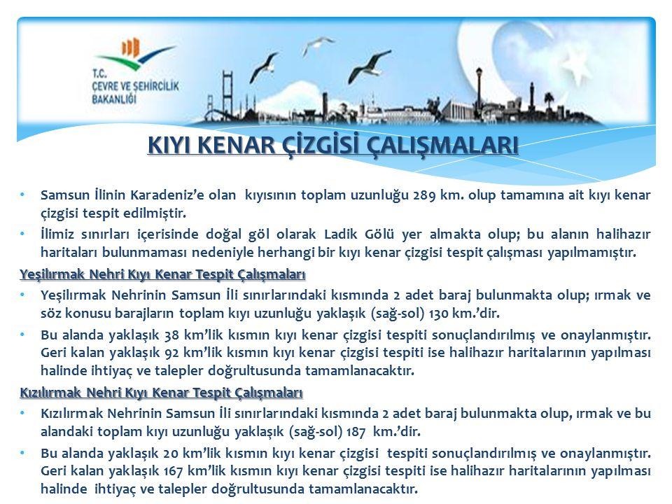 KIYI KENAR ÇİZGİSİ ÇALIŞMALARI Samsun İlinin Karadeniz'e olan kıyısının toplam uzunluğu 289 km. olup tamamına ait kıyı kenar çizgisi tespit edilmiştir