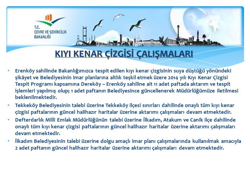 Erenköy sahilinde Bakanlığımızca tespit edilen kıyı kenar çizgisinin suya düştüğü yönündeki şikâyet ve Belediyesinin imar planlarına altlık teşkil etm