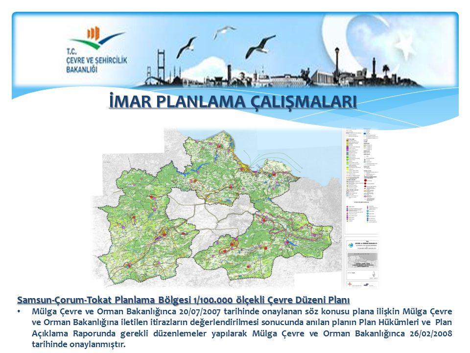 Samsun-Çorum-Tokat Planlama Bölgesi 1/100.000 ölçekli Çevre Düzeni Planı Mülga Çevre ve Orman Bakanlığınca 20/07/2007 tarihinde onaylanan söz konusu plana ilişkin Mülga Çevre ve Orman Bakanlığına iletilen itirazların değerlendirilmesi sonucunda anılan planın Plan Hükümleri ve Plan Açıklama Raporunda gerekli düzenlemeler yapılarak Mülga Çevre ve Orman Bakanlığınca 26/02/2008 tarihinde onaylanmıştır.
