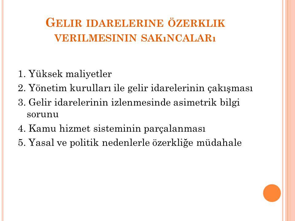 G ELIR IDARELERINE ÖZERKLIK VERILMESININ SAKıNCALARı 1.