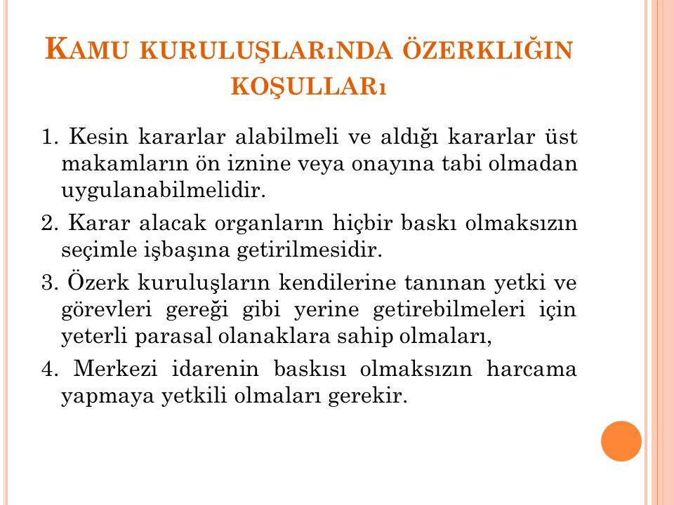 K AMU KURULUŞLARıNDA ÖZERKLIĞIN KOŞULLARı 1.
