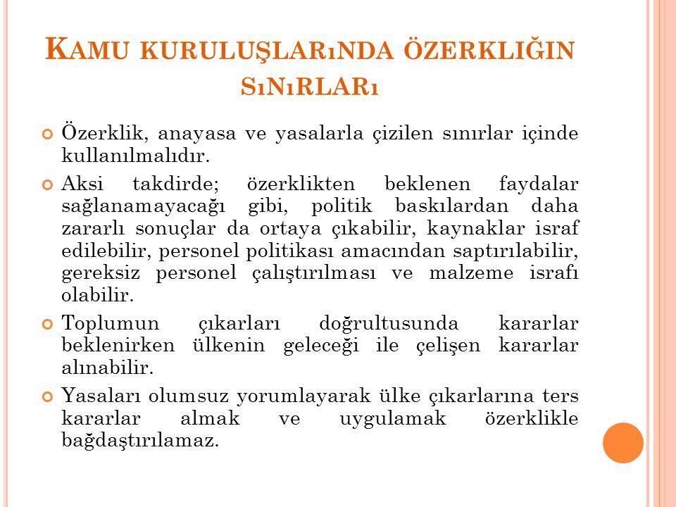 K AMU KURULUŞLARıNDA ÖZERKLIĞIN SıNıRLARı Özerklik, anayasa ve yasalarla çizilen sınırlar içinde kullanılmalıdır.