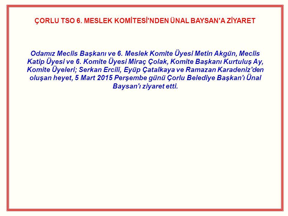 ÇORLU TSO 6. MESLEK KOMİTESİ'NDEN ÜNAL BAYSAN'A ZİYARET Odamız Meclis Başkanı ve 6. Meslek Komite Üyesi Metin Akgün, Meclis Katip Üyesi ve 6. Komite Ü