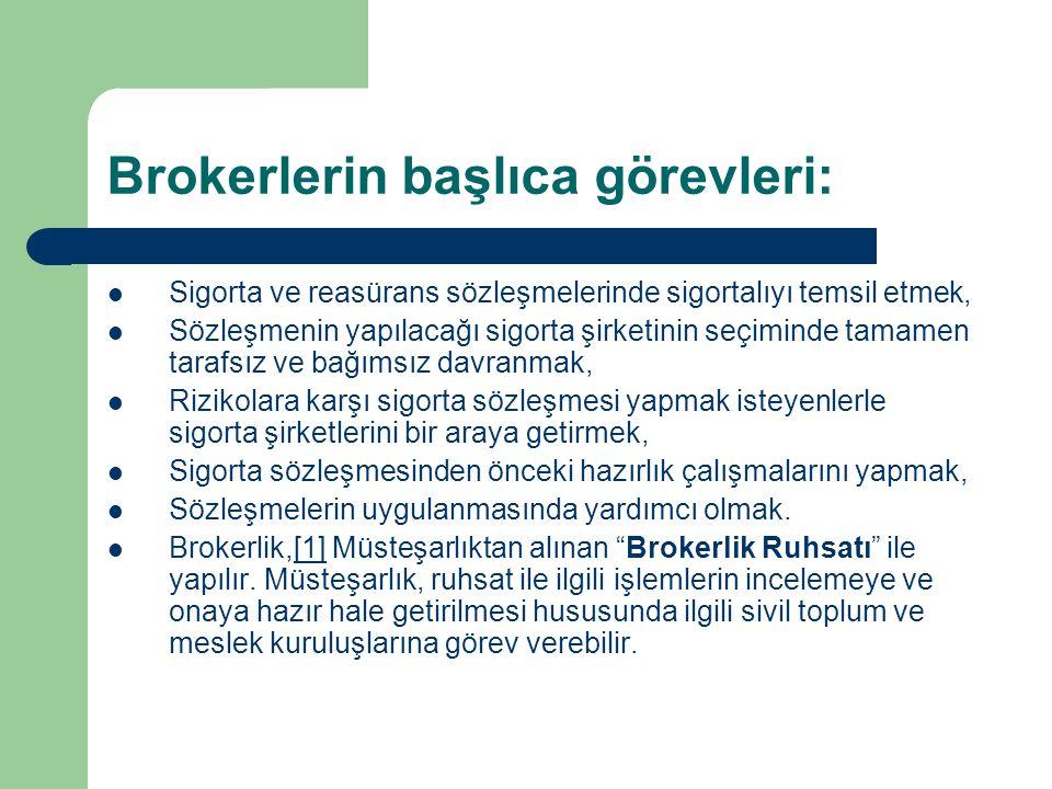 Brokerlerin başlıca görevleri: Sigorta ve reasürans sözleşmelerinde sigortalıyı temsil etmek, Sözleşmenin yapılacağı sigorta şirketinin seçiminde tama