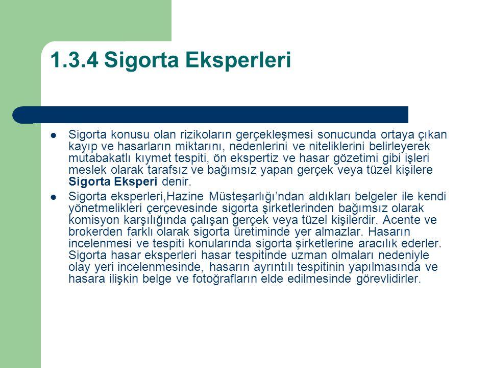 1.3.4 Sigorta Eksperleri Sigorta konusu olan rizikoların gerçekleşmesi sonucunda ortaya çıkan kayıp ve hasarların miktarını, nedenlerini ve nitelikler
