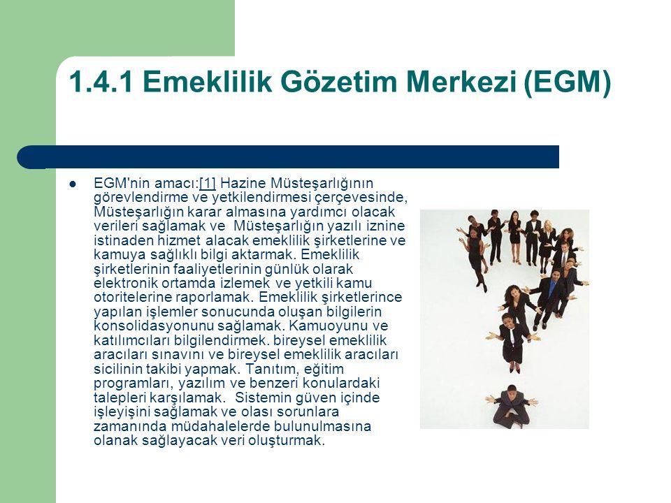 1.4.1 Emeklilik Gözetim Merkezi (EGM) EGM nin amacı:[1] Hazine Müsteşarlığının görevlendirme ve yetkilendirmesi çerçevesinde, Müsteşarlığın karar almasına yardımcı olacak verileri sağlamak ve Müsteşarlığın yazılı iznine istinaden hizmet alacak emeklilik şirketlerine ve kamuya sağlıklı bilgi aktarmak.
