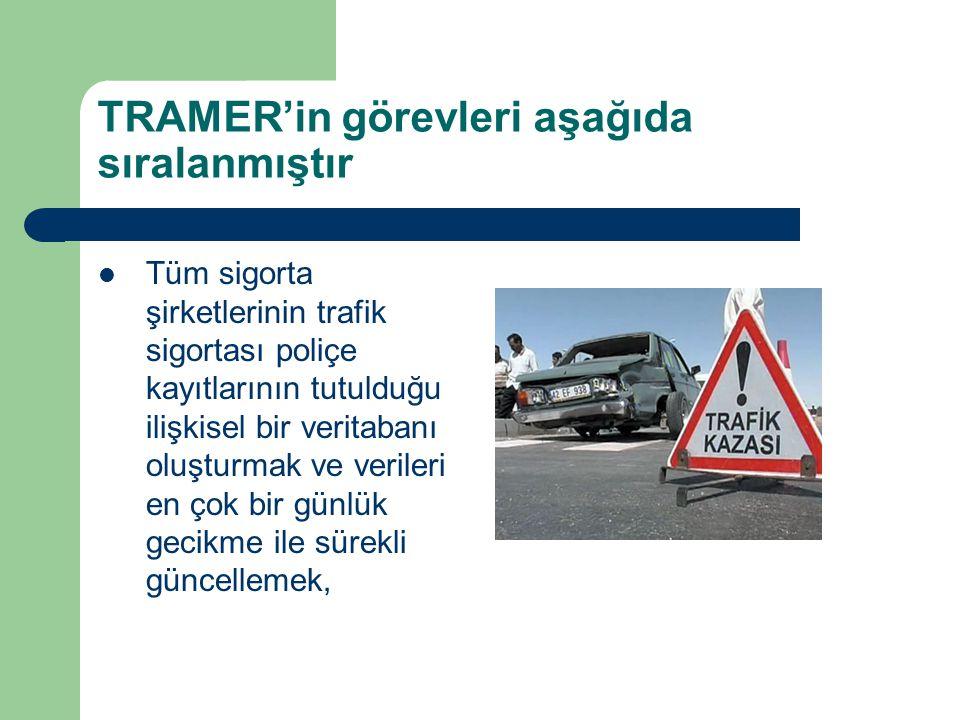 TRAMER'in görevleri aşağıda sıralanmıştır Tüm sigorta şirketlerinin trafik sigortası poliçe kayıtlarının tutulduğu ilişkisel bir veritabanı oluşturmak ve verileri en çok bir günlük gecikme ile sürekli güncellemek,