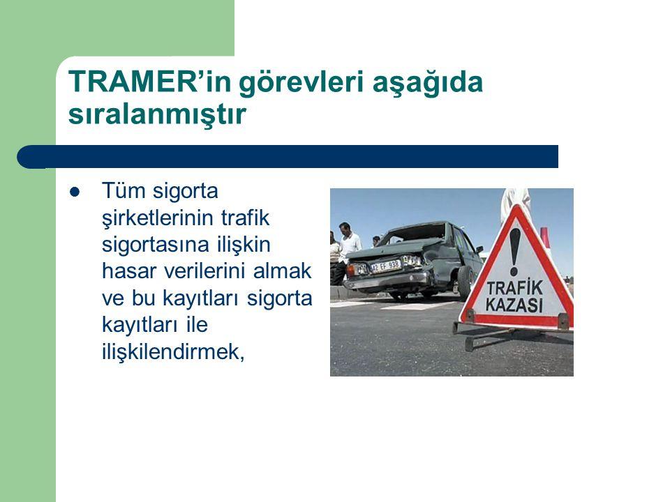 TRAMER'in görevleri aşağıda sıralanmıştır Tüm sigorta şirketlerinin trafik sigortasına ilişkin hasar verilerini almak ve bu kayıtları sigorta kayıtlar