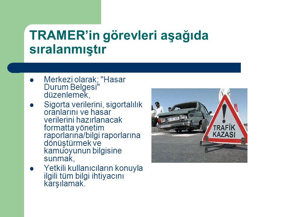 TRAMER'in görevleri aşağıda sıralanmıştır Merkezi olarak;
