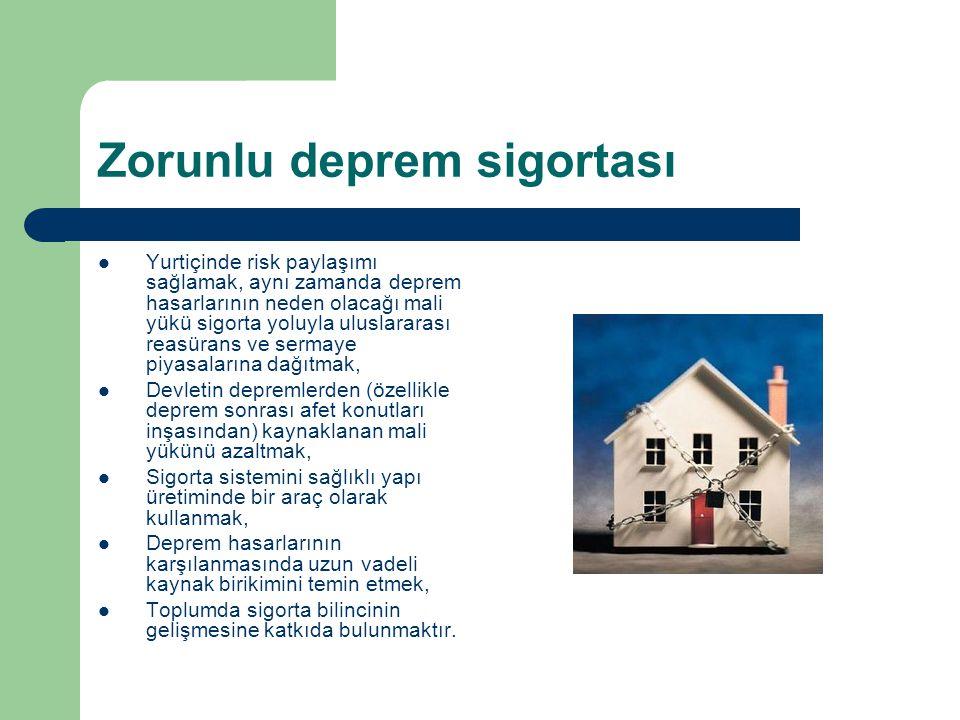 Zorunlu deprem sigortası Yurtiçinde risk paylaşımı sağlamak, aynı zamanda deprem hasarlarının neden olacağı mali yükü sigorta yoluyla uluslararası rea