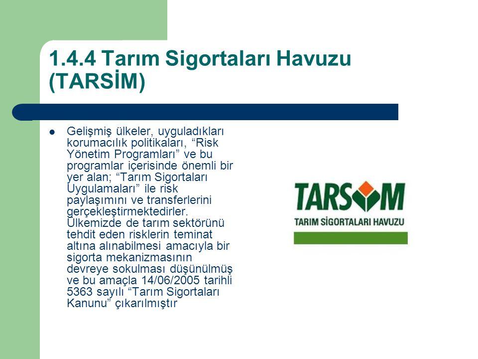 1.4.4 Tarım Sigortaları Havuzu (TARSİM) Gelişmiş ülkeler, uyguladıkları korumacılık politikaları, Risk Yönetim Programları ve bu programlar içerisinde önemli bir yer alan; Tarım Sigortaları Uygulamaları ile risk paylaşımını ve transferlerini gerçekleştirmektedirler.