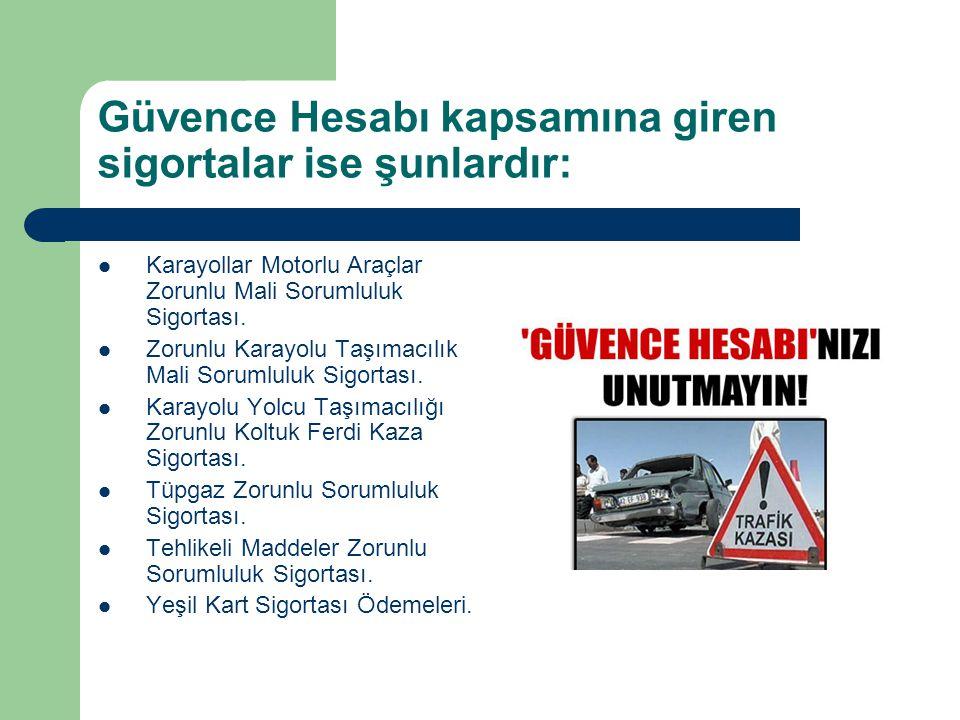 Güvence Hesabı kapsamına giren sigortalar ise şunlardır: Karayollar Motorlu Araçlar Zorunlu Mali Sorumluluk Sigortası. Zorunlu Karayolu Taşımacılık Ma