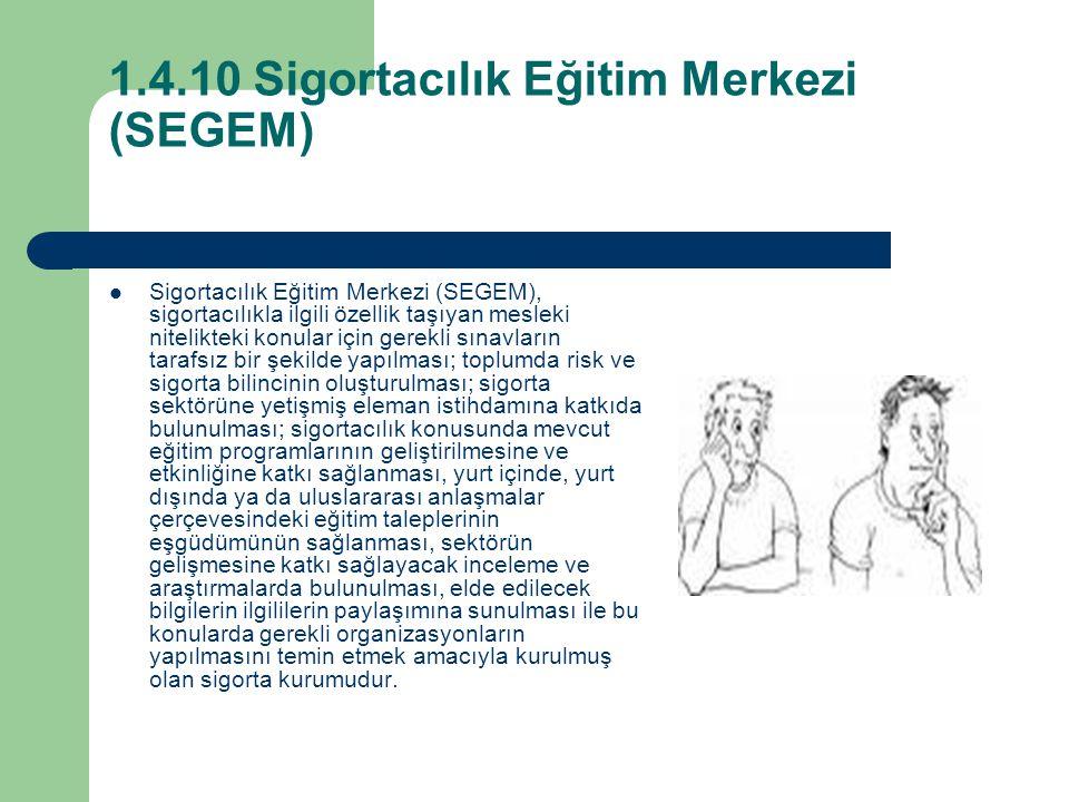 1.4.10 Sigortacılık Eğitim Merkezi (SEGEM) Sigortacılık Eğitim Merkezi (SEGEM), sigortacılıkla ilgili özellik taşıyan mesleki nitelikteki konular için