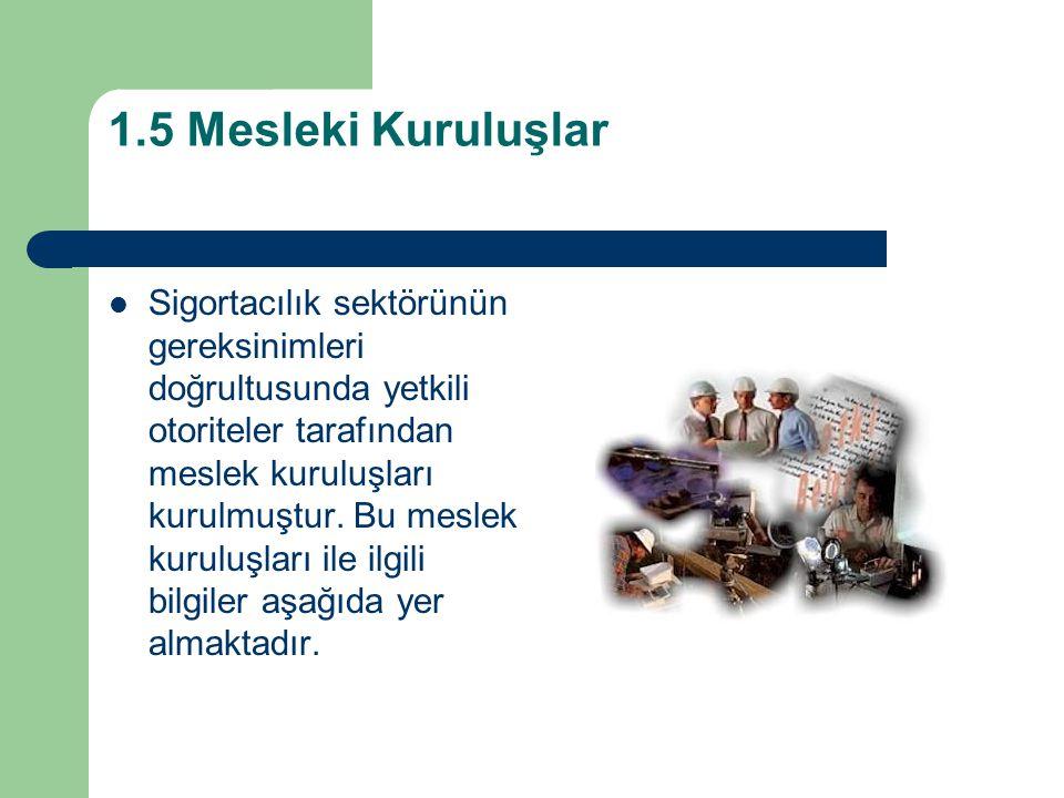 1.5 Mesleki Kuruluşlar Sigortacılık sektörünün gereksinimleri doğrultusunda yetkili otoriteler tarafından meslek kuruluşları kurulmuştur.