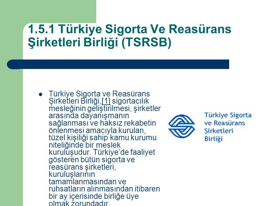 1.5.1 Türkiye Sigorta Ve Reasürans Şirketleri Birliği (TSRSB) Türkiye Sigorta ve Reasürans Şirketleri Birliği,[1] sigortacılık mesleğinin geliştirilmesi, şirketler arasında dayanışmanın sağlanması ve haksız rekabetin önlenmesi amacıyla kurulan, tüzel kişiliği sahip kamu kurumu niteliğinde bir meslek kuruluşudur.