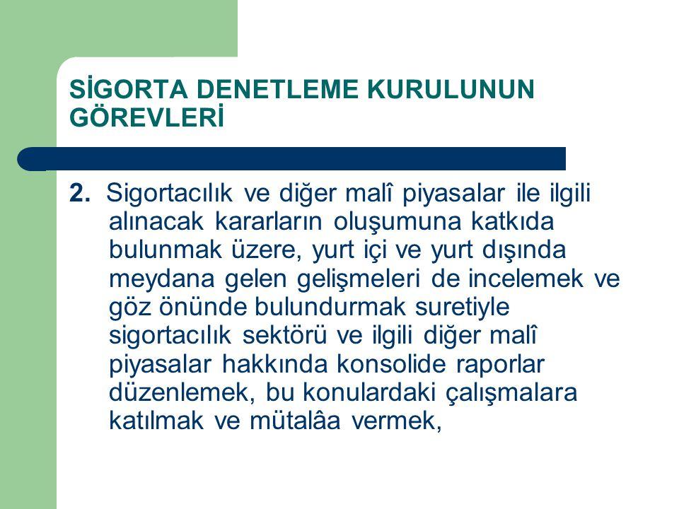 SİGORTA DENETLEME KURULUNUN GÖREVLERİ 2.