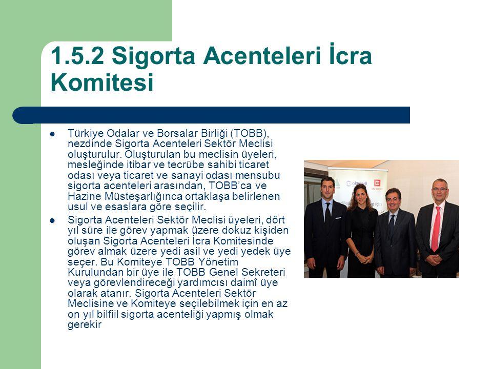 1.5.2 Sigorta Acenteleri İcra Komitesi Türkiye Odalar ve Borsalar Birliği (TOBB), nezdinde Sigorta Acenteleri Sektör Meclisi oluşturulur. Oluşturulan