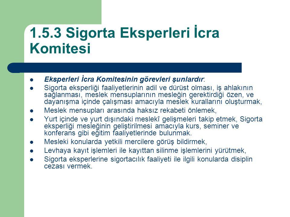 1.5.3 Sigorta Eksperleri İcra Komitesi Eksperleri İcra Komitesinin görevleri şunlardır: Sigorta eksperliği faaliyetlerinin adil ve dürüst olması, iş a