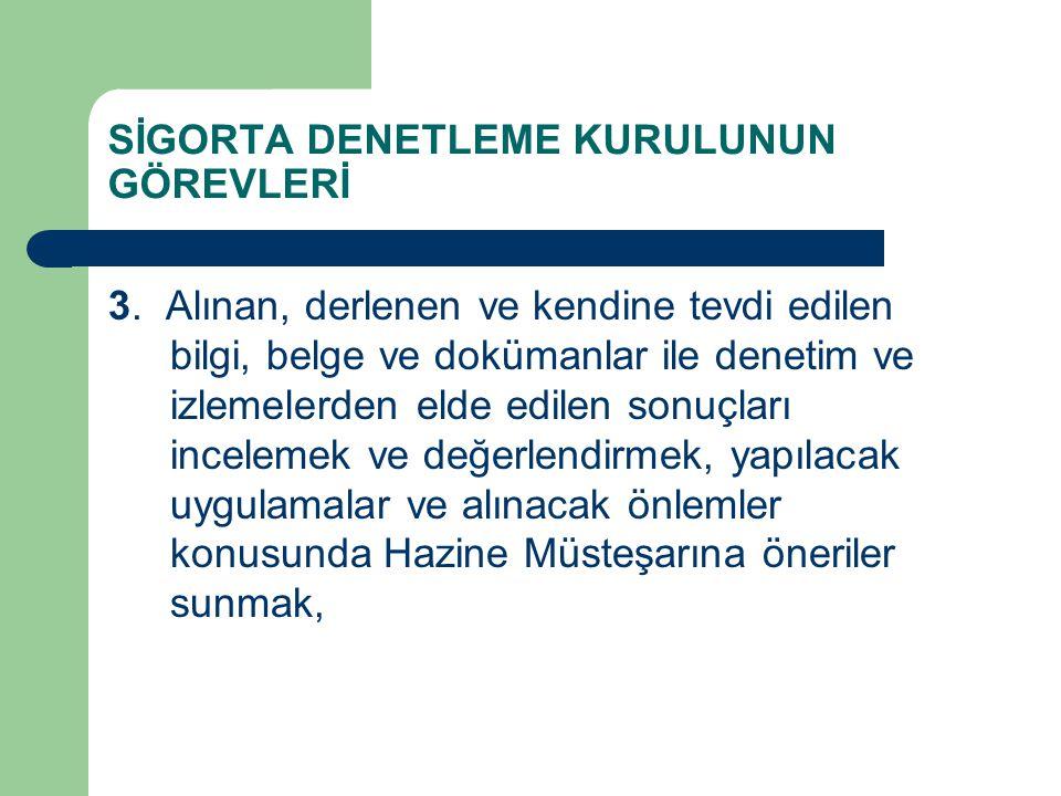 SİGORTA DENETLEME KURULUNUN GÖREVLERİ 3.
