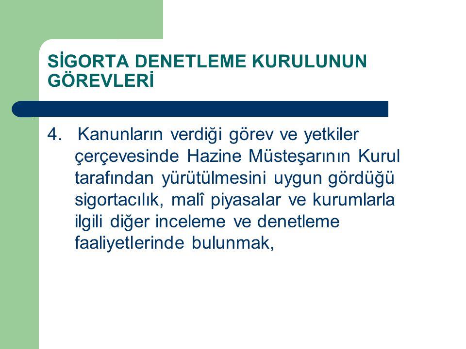 SİGORTA DENETLEME KURULUNUN GÖREVLERİ 4.