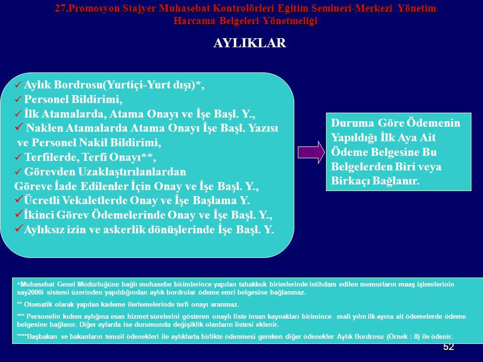 52 27.Promosyon Stajyer Muhasebat Kontrolörleri Eğitim Semineri-Merkezi Yönetim Harcama Belgeleri Yönetmeliği AYLIKLAR  Aylık Bordrosu(Yurtiçi-Yurt d
